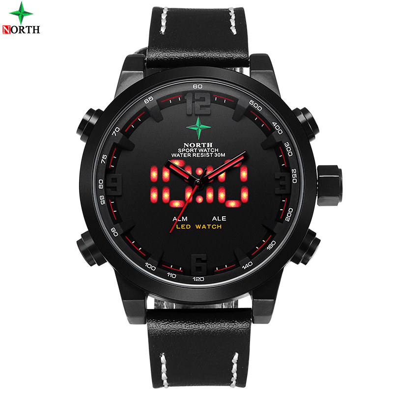 NORTH Mens Quartz Digital Leather Watch Military Casual Sports Watches Luxury Brand Relogio Outdoor Sport Wristwatch Male<br><br>Aliexpress
