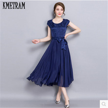 Summer Dress Female 2017 Elegant Chiffon Silk Party Dresses for women Red Robe Femme Plus Size Womens Vestidos Mujer YJZ117(China)