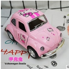 TOMLOV Hello Kitty boby Toys cars Cartoon Pink Alloy Car Model Child gift Mini toys car for child Volkswagen beetle cars(China)