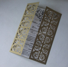 100-Personalized Fleur De Lis Wedding Invitation Laser Cut Invitation Cards for Wedding Gold Paper Birthday Invitation Card
