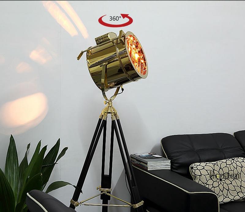 Industrial Bar Nordic American Creative Studio Silver Golden Floor Lights Tripod Searchlight Floor Lamps E27 (1)