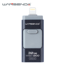 Wansenda-i300 usb 3.0 OTG USB Flash Drives for iPhone/iPad/ Android phone pen drive 16GB/32GB pendrive 3.0 otg usb memory stick(China)