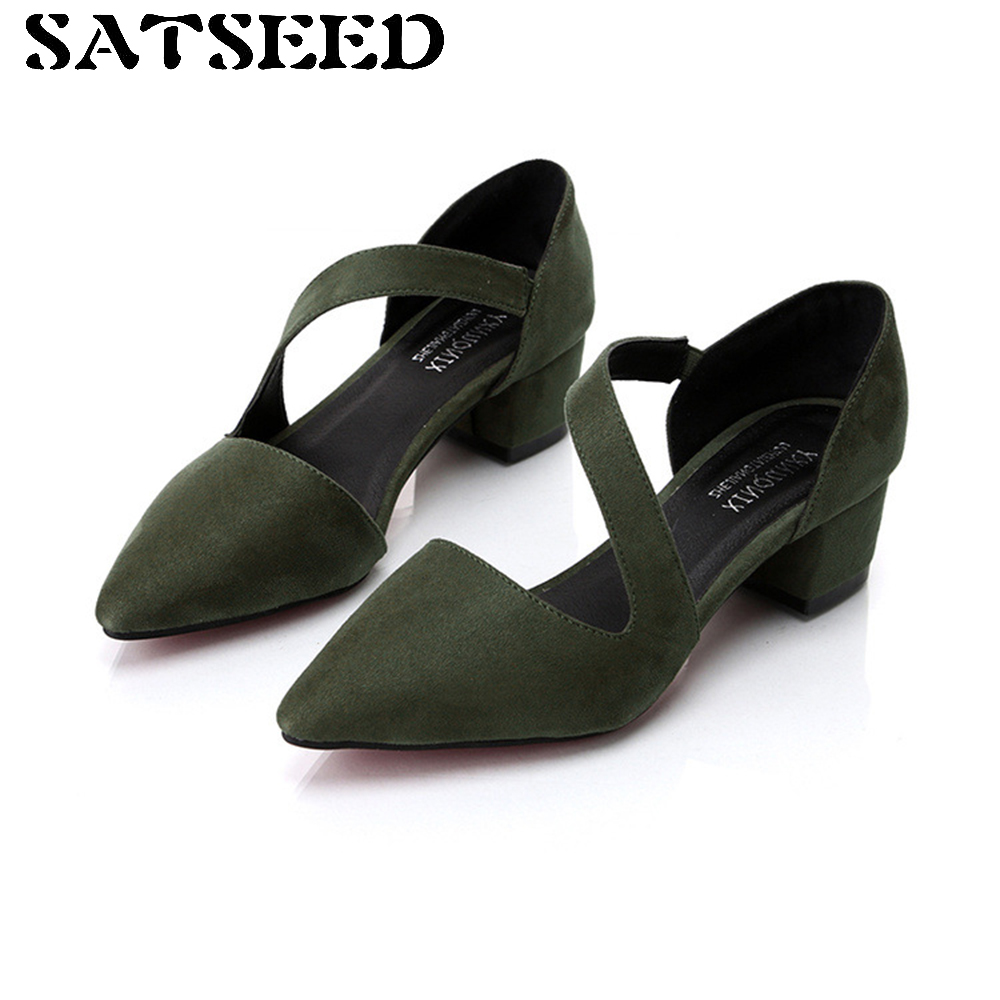 2017 Sandals Slip Cover Heel Spring Summer Thick Square Heel Korean Buckle Shoes Work Shoes Pointed High-heeled Shoes Sandals<br>