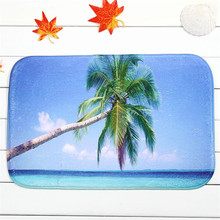 2016 New Custom Summer Beach Coconut Tree Printing Kitchen Carpets And Rugs Anti-Slip Entrance Door Mats 40*60cm Rubber Doormats