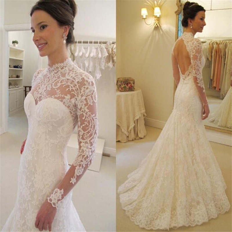 51d1bc1b9bb 2015 Cheap Lace Wedding Dresses India Arabic Vintage See Through High Neck  Long Sleeve Mermaid Bridal