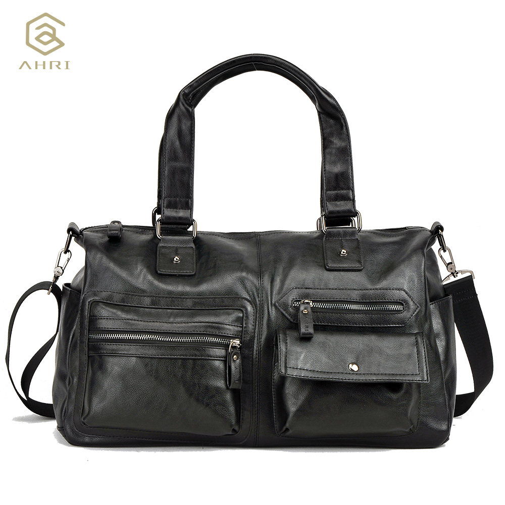 AHRI Hot sales Men Solid PU Leather Shoulder Mens Casual Tote Bag Brown Vintage Business Top handle Bag Fashion Handbag For Men<br>