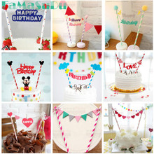 1 piece mickey mouse theme happy birthday flag with paper straw cupcake cake topper birthday cake accessories party supplies(China)