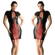 Buy High Quality Women Sexy Black Faux Leather Punk Gothic Style Pencil Mini Dress Red Ribbon Lace-Up Latex Bondage Clubwear Party