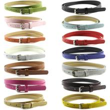 Sweetness Womens Faux Leather Belts Candy Color Thin Skinny Waistband Adjustable Belt(China)