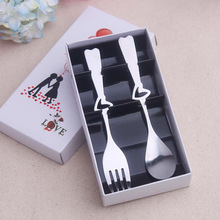100Box Free Shipping Wedding Spoon Fork Set Wedding Favours For Guests Birthday Holiday Party Supplies Compleanno(One Box=2Pcs)