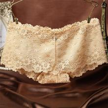 2017 New Sexy Brand Ladies Underwear Women Sexy Transparent Shorts Lace Panties Female Knickers Full Lace Tempting briefs