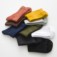 Solid Retro Color In Tube Casual Cotton Heap Socks For Women Fashion Harajuku Dark Grain Knit Sock For Male Basis Soft Sox(China)