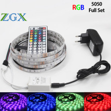 SMD LED Strip 5050RGB 5M 10M 15M 30leds/M Decorate RGB LED Light lamp ribbon tape 44K controller DC12V adapter set waterproof(China)