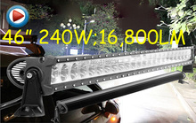 Free UPS ship!46inch 240W 16800LM,1pcs/set,10~30V,6500K,LED working bar,Boat,Bridge,Truck,SUV Offroad car,black!20W 100W