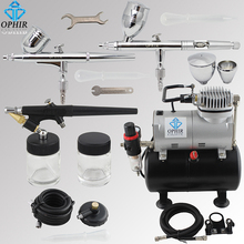 OPHIR 3 Airbrush Guns with Air Brush Tank Compressor for Car Paint Hobby Tattoo Cake Decorating Airbrush Kit _AC090+004A+071+006(China)