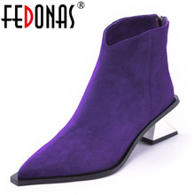 FEDONAS Brand Women Ankle Boots Genuine Leather 첨 발가락 Warm Autumn Winter (High) 저 (힐 마틴 Shoes Woman Office Pumps(China)