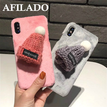 Fashion Funny 3D Rabbit Fur Ball Winter Hat Soft Plastic Back Cover for Apple IPhone 6 6s plus Phone Case Cute Shell Capa Coque(China)