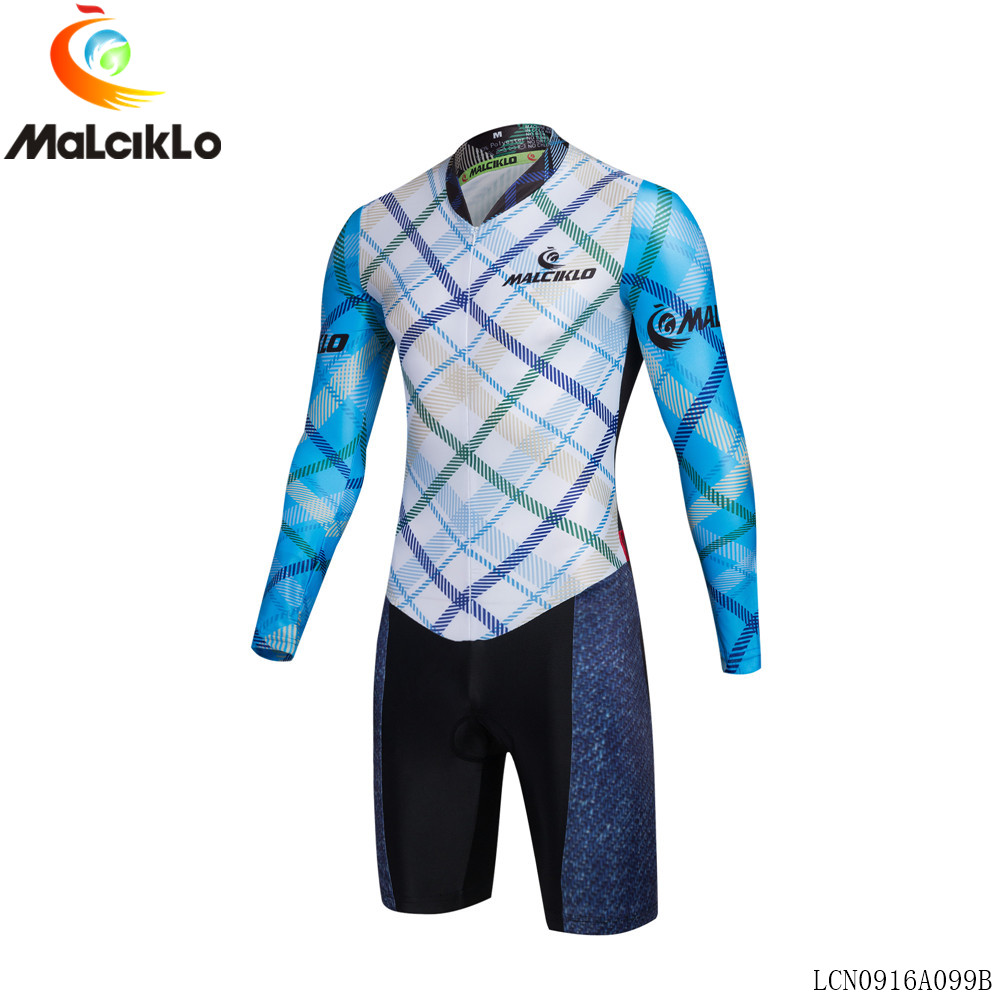 Malciklo Men Cycling Long Sleeve Jumpsuit 2017 High Fabric Ropa Ciclismo Maillot Jersey Skinsuit Bike Clothing Triathlon S032<br>
