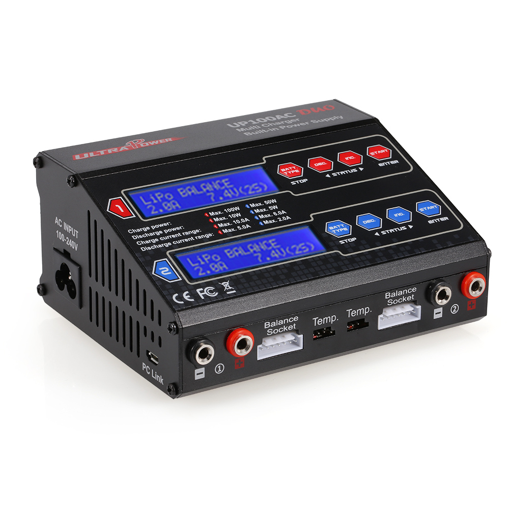 RC Power UP100AC DUO 100W Cyclic Charging/discharging LiIo/LiPo/LiFe/NiMH/NiCD Battery Balance Charger Discharger for RC Dron(China)
