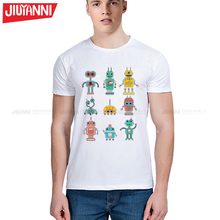New Small robot T-shirt Reals Short t sleeves MADRIDES Small robot t shirt Tops Hipster Style Casual T-shirt Tops Fashion Tees