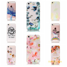 balloon flower leaf butterfly cat Relief Painted TPU Phone cover shell for Apple iPhone 5 5s phone case