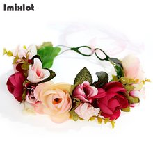 Imixlot Handmade Flower Crown Wedding Bride Wreath Floral Garland Bohemia Women Hair Accessories Flower Headbands Headpiece(China)