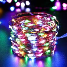 New 10M 100LED 3AA Battery Powered Copper Wire String Lights Indoor Outdoor Fairy Led Light for Xmas Garland Party Wedding(China)