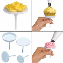 1Set/4PCS New Sugarcraft Cupcake Cake Stand Icing Cream Flower Decorating Nail Set Tool
