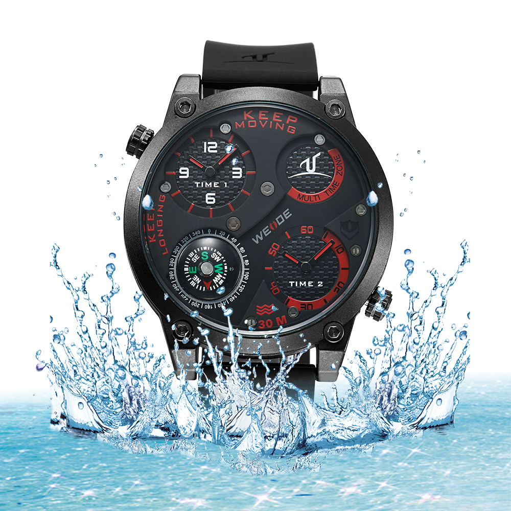 WEIDE Watches Men Luxury Brand Multiple Time Zone Compass Military Sports Watch Men Quartz Wristwatch Clock Male Relogio UV1505<br>