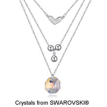 White Gold Color Multi Layer Chains Heart & Beads Drops Necklace, Made With SWAROVSKI ELEMENTS Crystal Valentine Necklace 11422