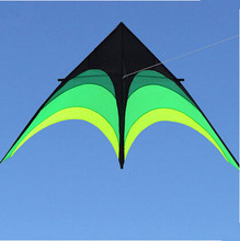 New Hi-Q 2m Power  Hengda Kite-For Kids and Adults!Umbrella Cloth Prairie /Green Triangle  Kite with Long Ribbon Good Flying