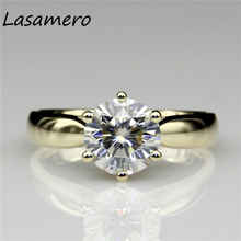 LASAMERO Round 2ct Lab Grown Diamond Starling Solitaire 14k Yellow Gold Engagement Ring Moissanites Wedding Rings(China)