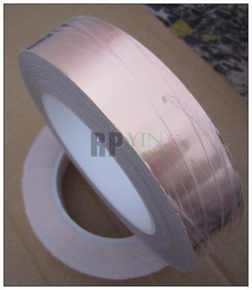 35mm*30 meters *0.06mm  Single Sided Conduct Copper Foil Adhesive ShieldingTape Sticky for EMI Masking Electrical Bonding<br>