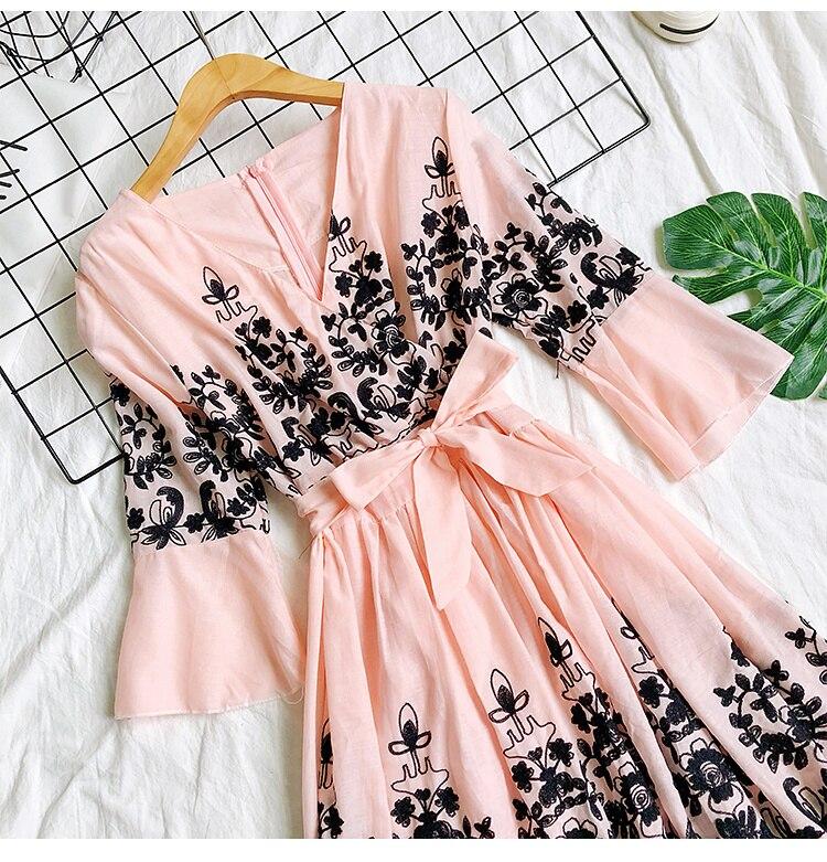 2019 Spring Summer V-neck Embroidery Dress Flare Sleeves Bohemian Dress Belted Ethnic Loose Vintage Dress 67