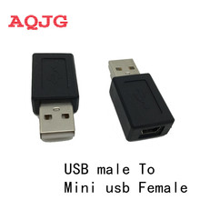 New High Speed USB 2.0 Male to Mini USB Female Converter Connector Male to Female Adapter Classic Simple Design Black AQJG