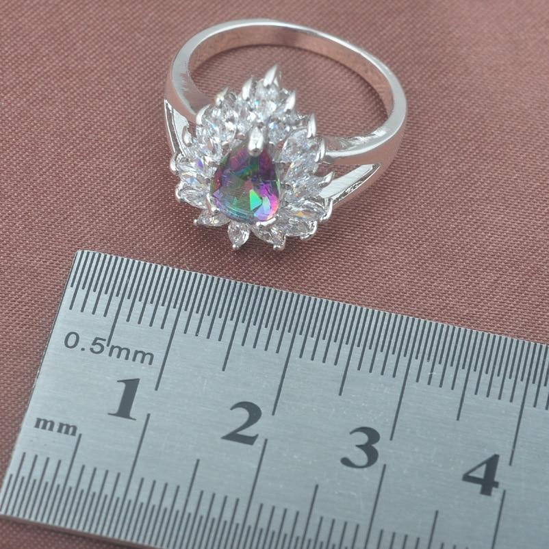 Female Rainbow Zirconia Water Drop Jewelry Set For Women Weedding 925 Sterling Silver Jewelry Sets TZ0571