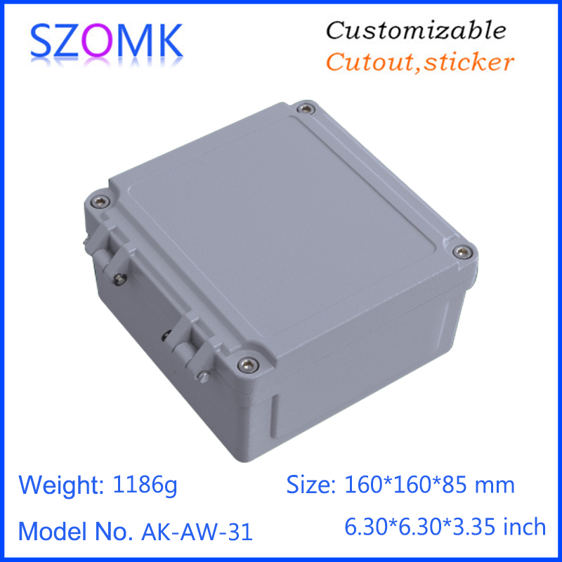 1 piece, 160*160*85mm hinged cover waterproof aluminum die cast enclosure housing IP66 amplifier aluminum housing case<br>
