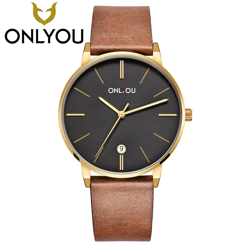 ONLYOU Watches Men Brand Casual Quartz Leather Wristwatch Army Military Mens Waterproof Clock Male Fashion Watch Wholesale<br>