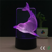 Foreign trade new cool dolphins personality 3 d a night light 7 colour creative LED visual light diy gift table lamp