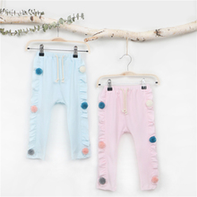 EnkeiliBB 100% Cotton Toddler Girls Long Pants Pink/Blue Spring Summer Pants Ruffle Cute Baby Clothing Kids High Wasit Trousers(China)