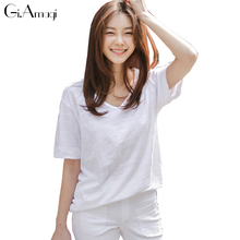 Summer 2017 New Korea Women's Clothing Round Neck Collar Loose Short-sleeved T-shirt Women's Bamboo Cotton Pure Color T Shirt