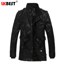 LKBEST 2017 New winter men PU leather Jacket wool liner long mens leather jackets and coats fashion pilot winter jacket (PY16)