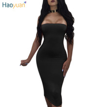 Buy HAOYUAN Slash Neck Shoulder Bodycon Bandage Dress Summer Backless Sexy Dress Women Vestidos Night Club Party Dresses for $10.19 in AliExpress store