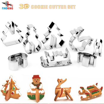 FINDKING DIY 3D Stainless Steel CHRISTMAS Scenario Cookie Cutter Set,Baking mould,include Snowman, Christmas Tree, Deer And Sled