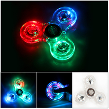 Transparent Crystal Plastic LED Light Hand Spinner Crystal Luminous Fidget Spinner Led EDC For Autism Focus Anxiety StressToys