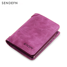 Sendefn Women Wallets Genuine Leather Lady Purse Small Short Wallet Female Vintage Purses Card Holder Ladies Wallet(China)