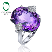 Free shipping 13.35ct Oval Cut Amethyst 14k Gold 0.23ct Natural Diamond Classic Engagement Ring(China)