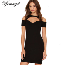 Vfemage Womens Sexy Chic Hollow Out Off Shoulder Slim Tunic Casual Party Club Clubwear Bodycon Vestidos Pencil Mini Dress 4298(China)