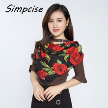 [Simpcise] Hot Sale Famous Design Women's Big Rose Printed polyester Square Scarf Woman silk scarf P9A99022(China)