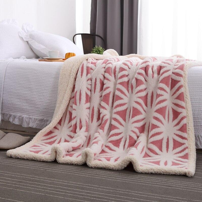 Jacquard Flannel Berber Fleece Blanket Double Layer Sofa Throw Blanket Plane Travel Plush Sheet Bedspread Blankets for Beds<br>